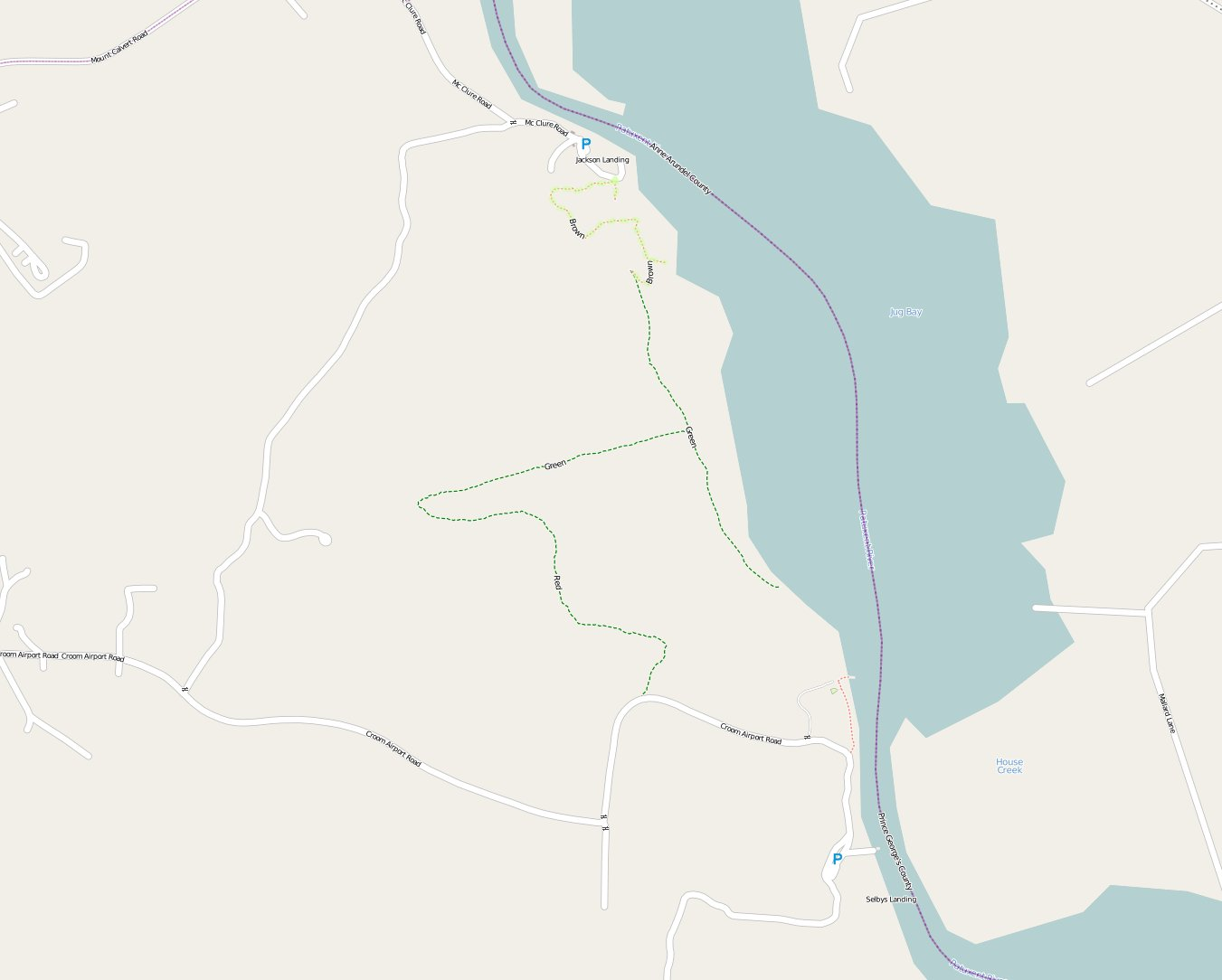 Incomplete map of Patuxent River Park