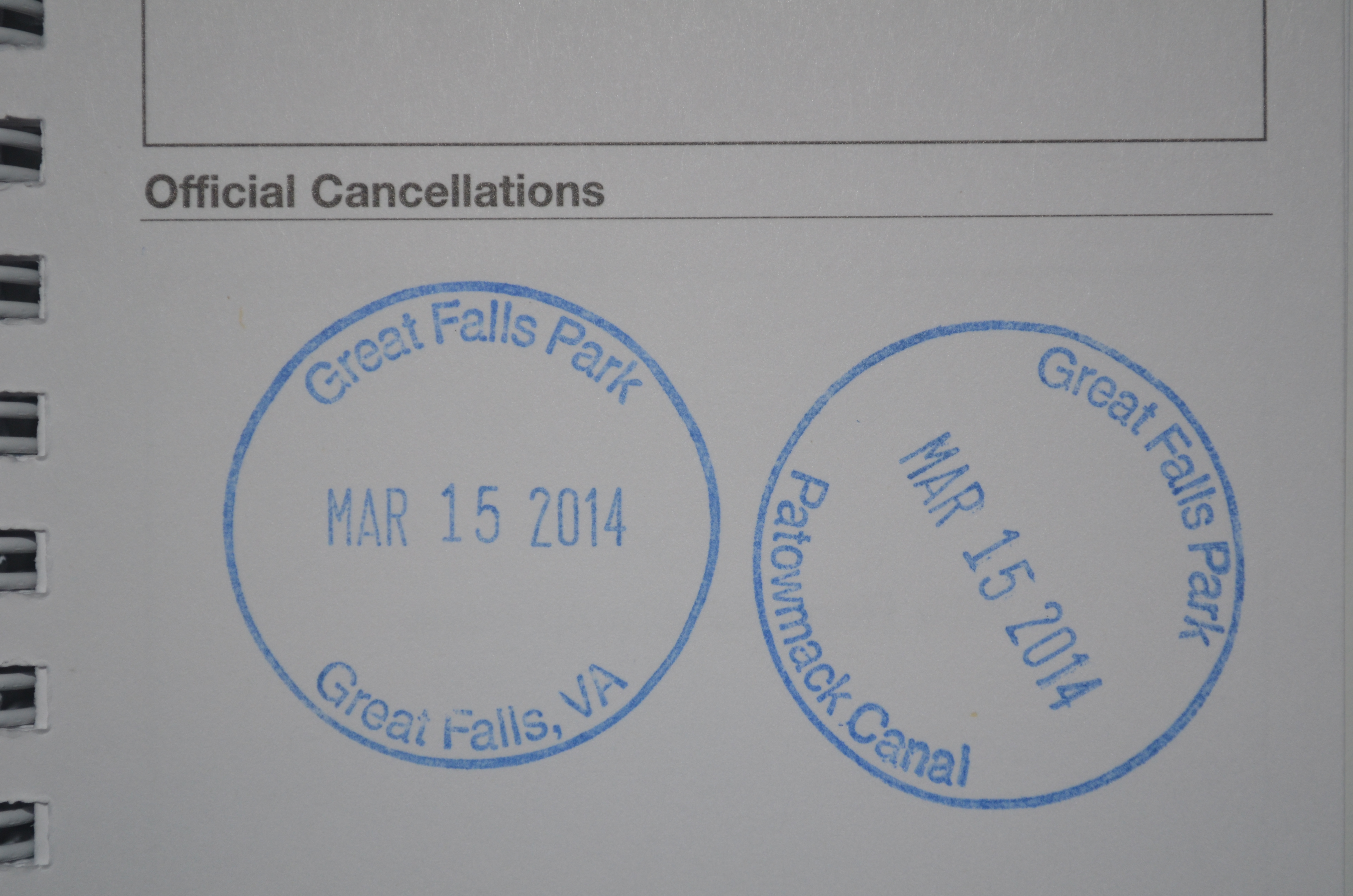 Cancellation stamps from Great Falls National Park