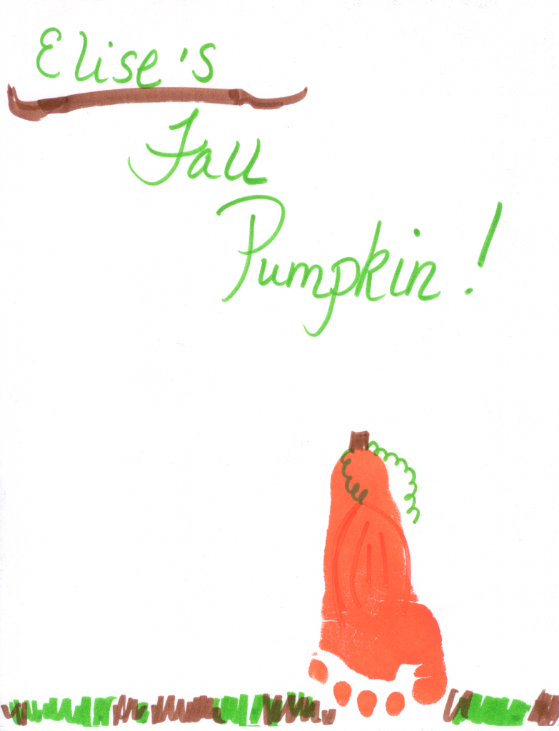 Elise's depiction of a Fall pumpkin using here foot.