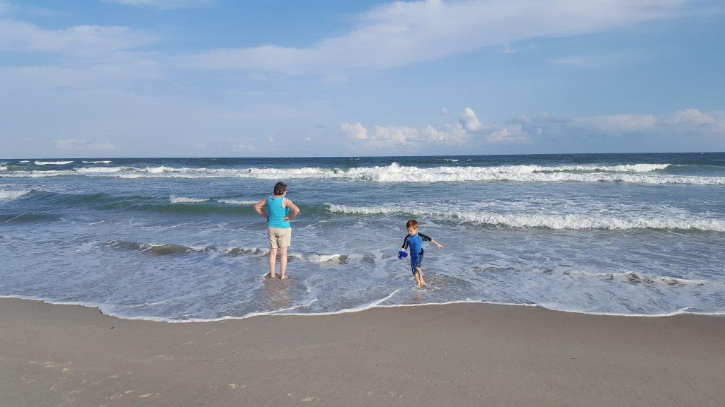 Harlan and Nana in the ocean.